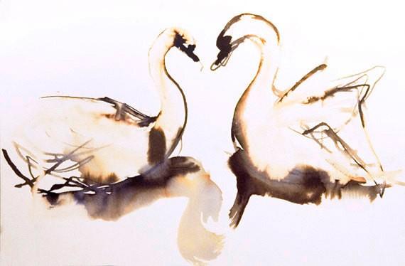 Romantic brown watercolo swan couple tattoo design