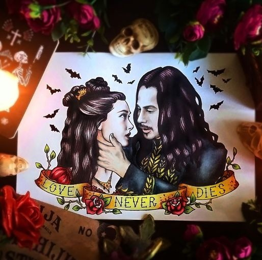 Romantic colorful vampire couple with a golden banner tattoo design