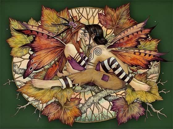 Romantic fairy lovers and a lot of orange autumn leaves tattoo design