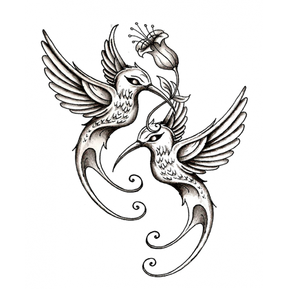 Romantic flying bird couple with a flower tattoo design