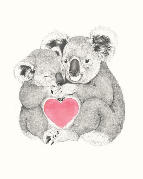 Romantic grey-ink animal lovers and rosy heart tattoo design