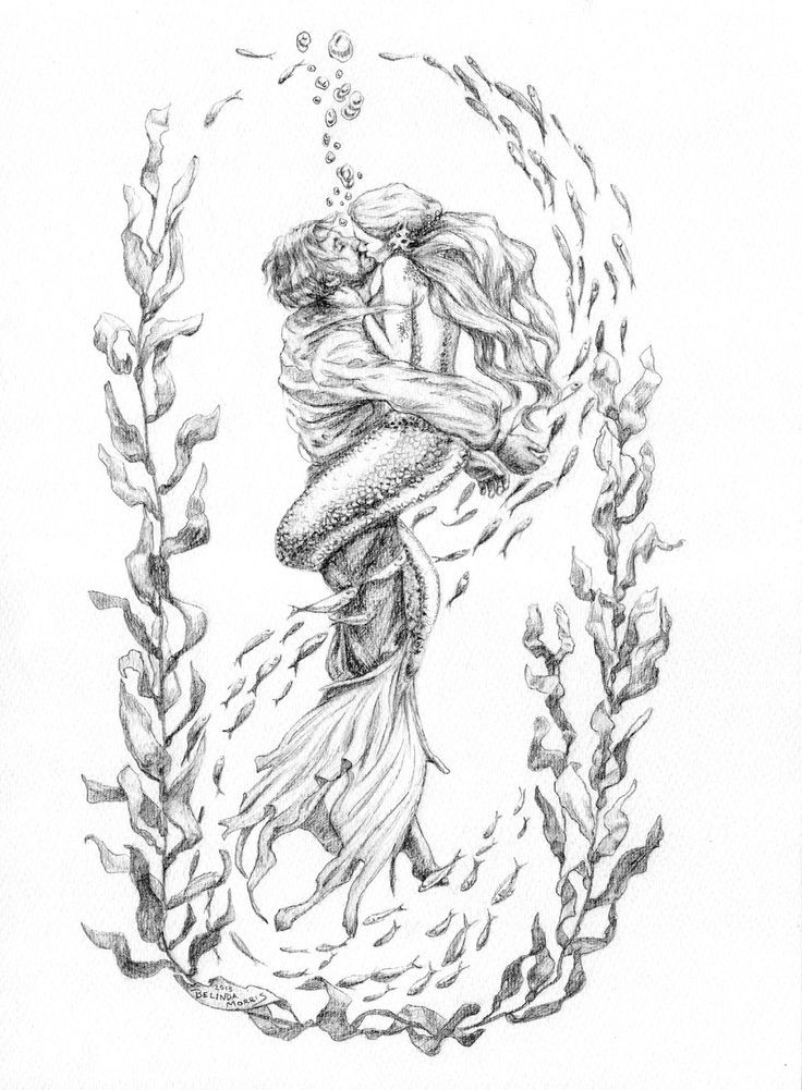 Romantic grey-ink kissing mermaid and her lover in weed frame tattoo design