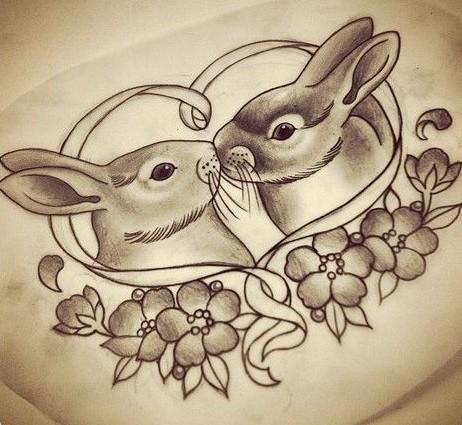 Romantic kissing rabbit couple in flowers tattoo design