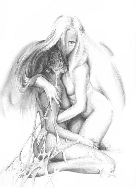Romantic naked angel lovers tattoo design
