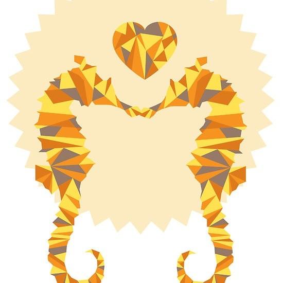 Romantic orange-and-grey seahorse couple with tiny heart tattoo design