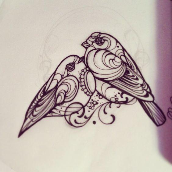 Romantic ornate sparrow couple tattoo design