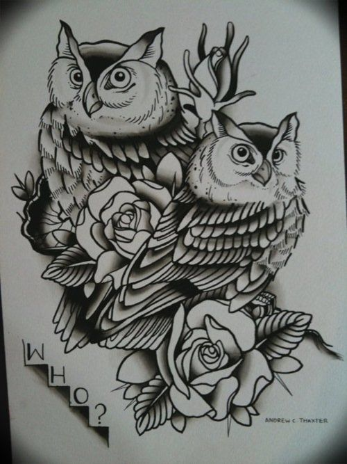 Romantic owl couple with roses tattoo design