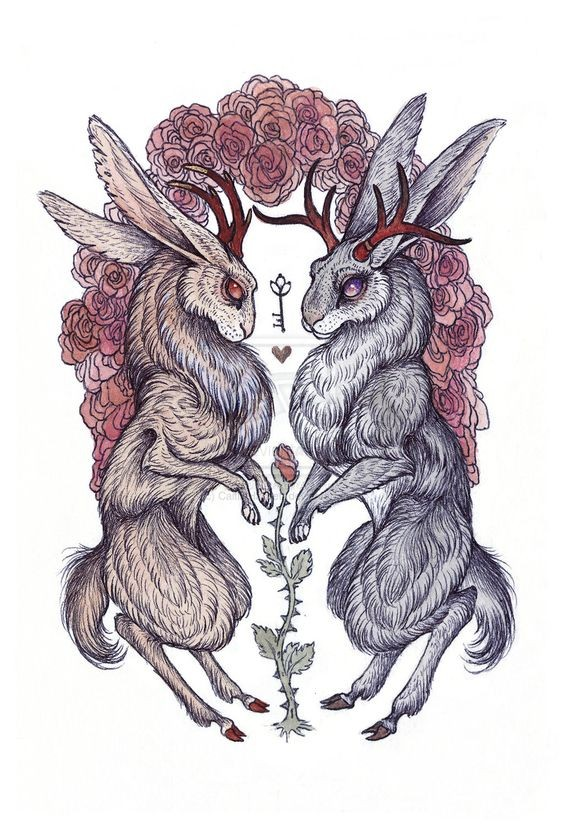 Romantic red-eyed hare wedding near rose decorations tattoo design