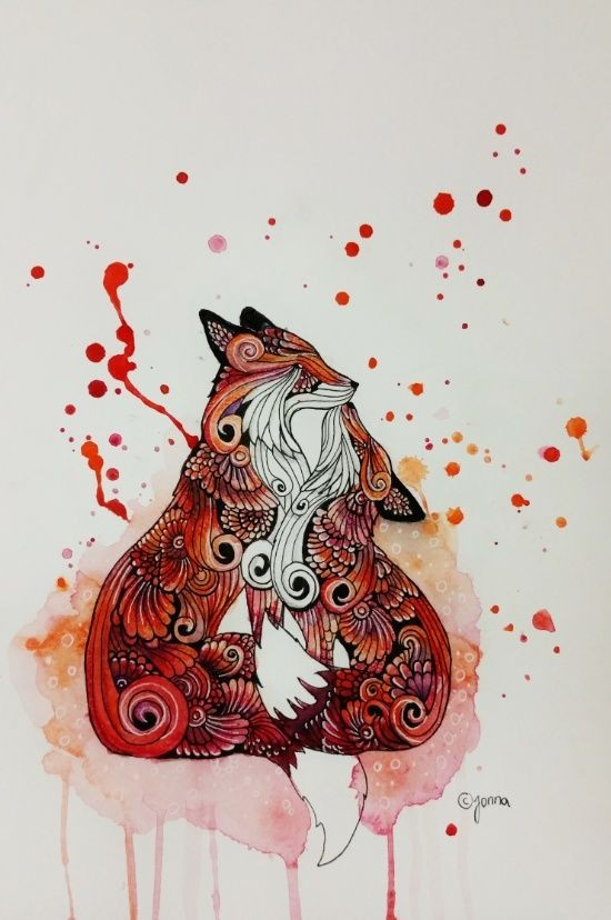 Romantic red watercolor ornate kissing fox couple tattoo design