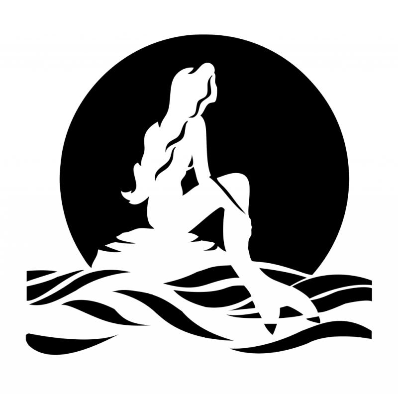Romantic white mermaid silhouette on black sunset background tattoo design