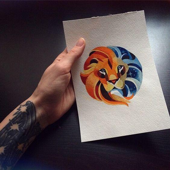 Round half-orange half-blue lion head tattoo design