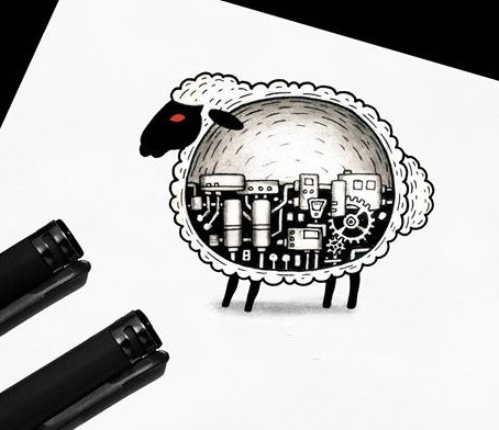 Round sheep with mechanical insides tattoo design