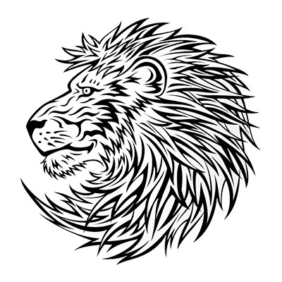 Round tribal lion head tattoo design