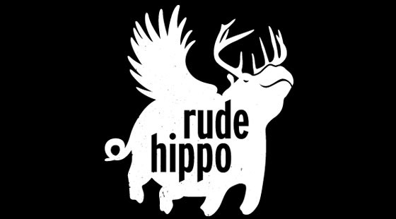 Rude winged hippo with elk horns and inside quote tattoo design