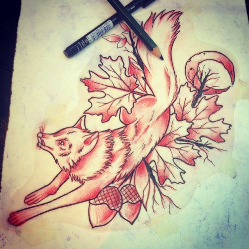 Running fox with acorns and maple leaves tattoo design