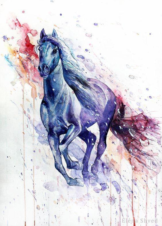 Running horse in watercolor splashes tattoo design