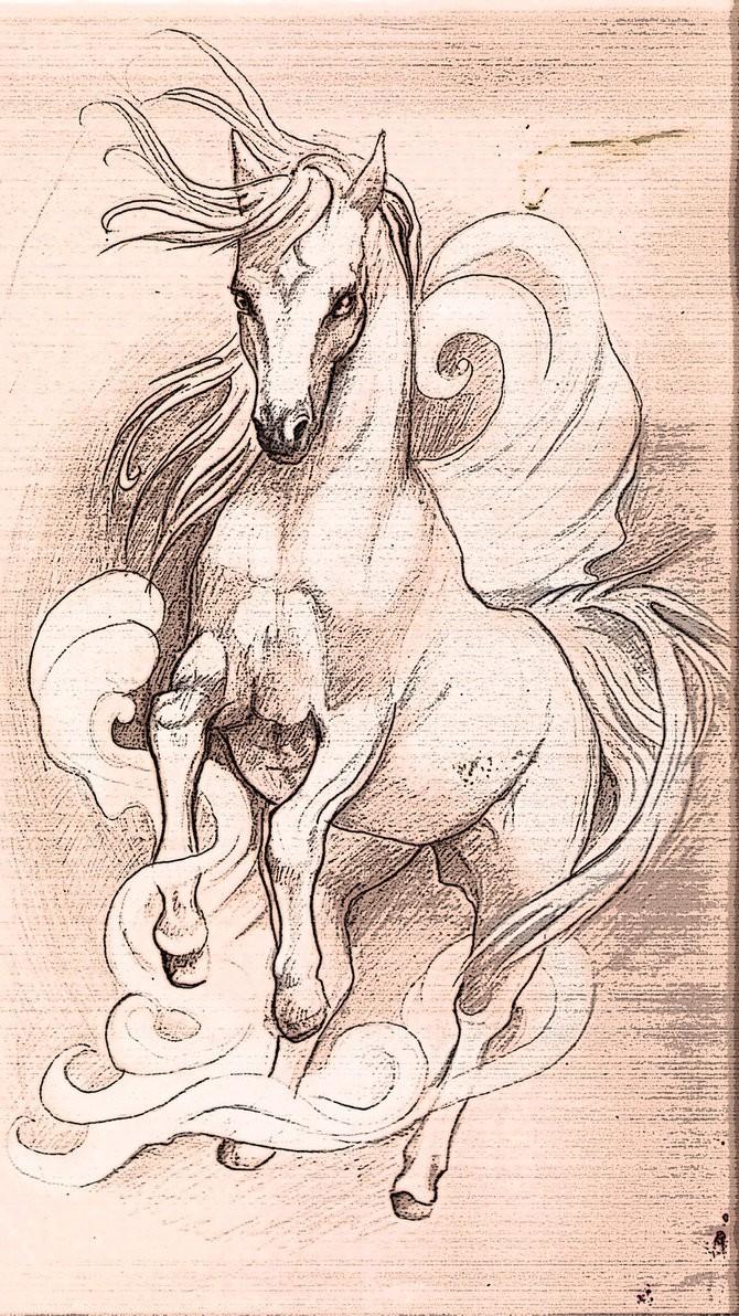 Running horse in white smoke tattoo design