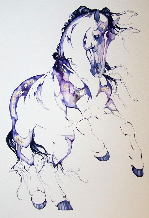 Running horse with purple watercolor elements tattoo design