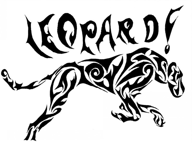 Running Tribal Leopard With Lettering Tattoo Design By border=