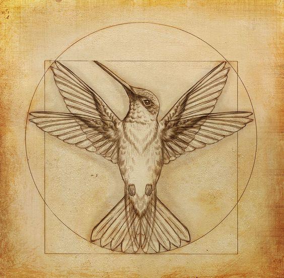 Sacrified hummingbird sign tattoo design