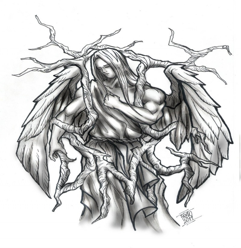 Sad animated angel with tree branches tattoo design by Fabio Metalcore