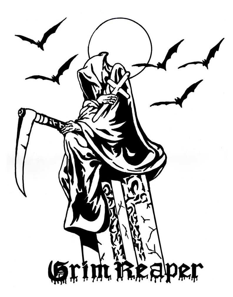 Sad black death sitting on a headstone with grim reaper quote tattoo design by Dead Woodman