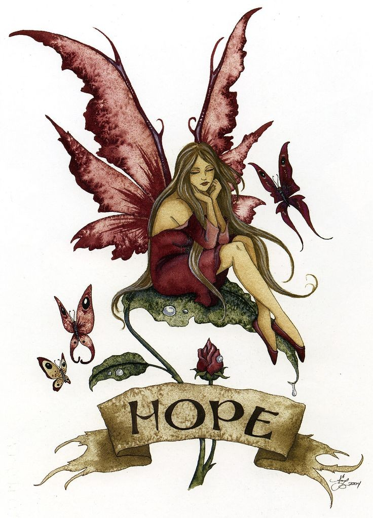 sad burgundywing fairy and a banner tattoo design