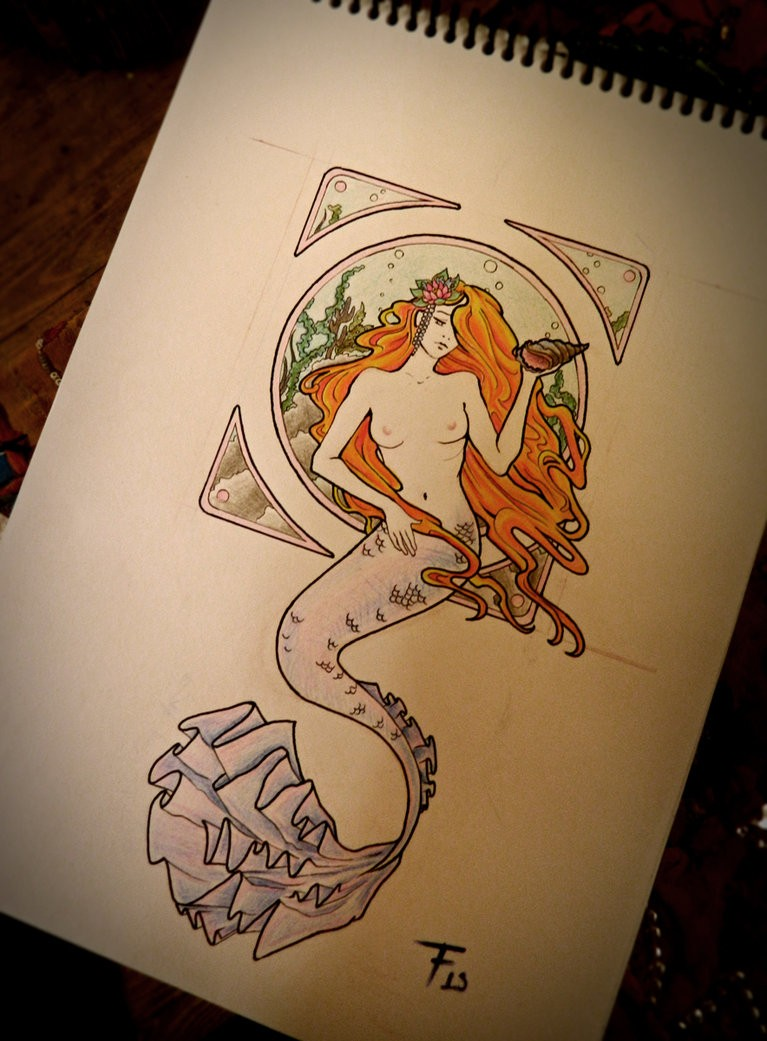 Sad ginger-haired mermaid with purple tail on framed background tattoo design