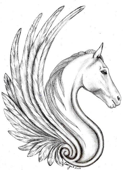 Sad grey-ink pegasus portrait in profile tattoo design