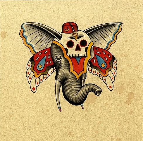 317220206e43f Sad old school elephant head with butterfly and skull decorations tattoo  design - Tattooimages.biz