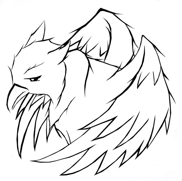 Sad outline griffin head with wings tattoo design by Midnight53