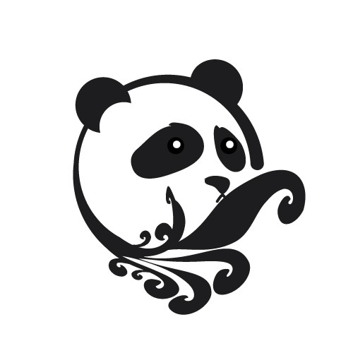 Sad panda head with tribal curles tattoo design by Astro Snowball