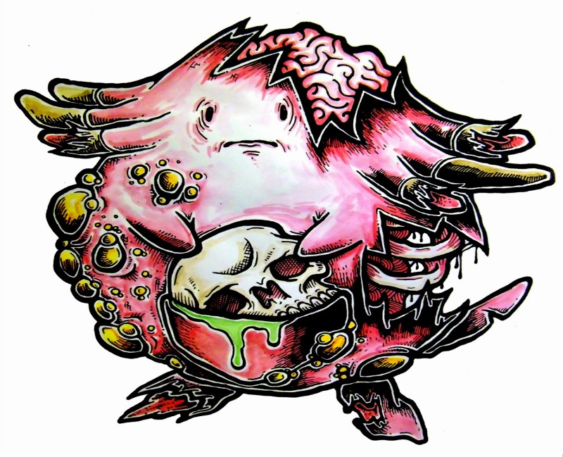 Sad pink zombie pokeon with a skull in a pocket tattoo design