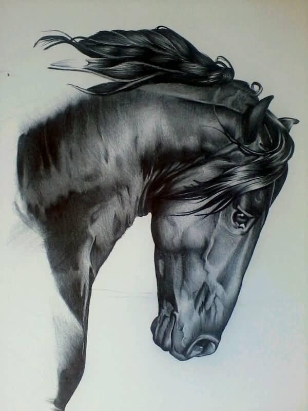 Sad realistic bowed black horse head tattoo design