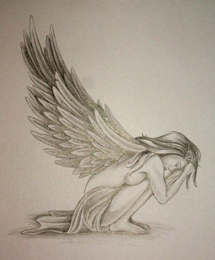 Sad sitting crying angel girl tattoo design