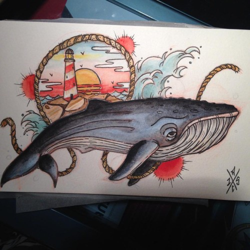 Sad traditional multicolor whale with lighthouse view tattoo design