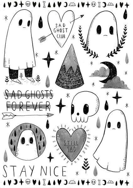 Sad white cartoon drawing ghost tattoo designs