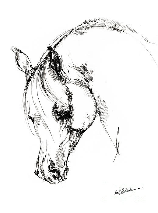Sad white crying horse tattoo design