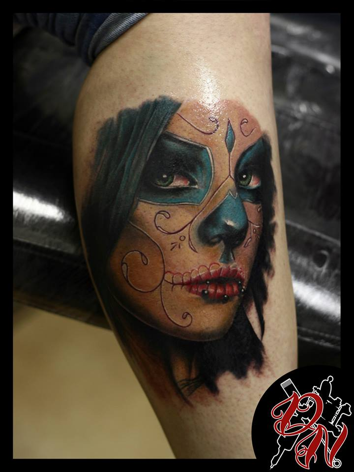 Santa muerte tattoo  on leg