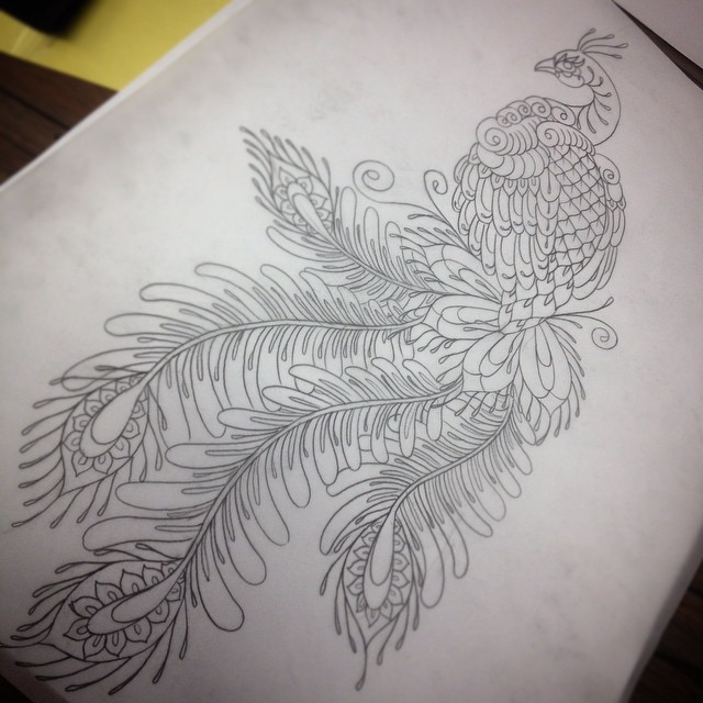 Scaled-body peacock with long feathered tail tattoo design