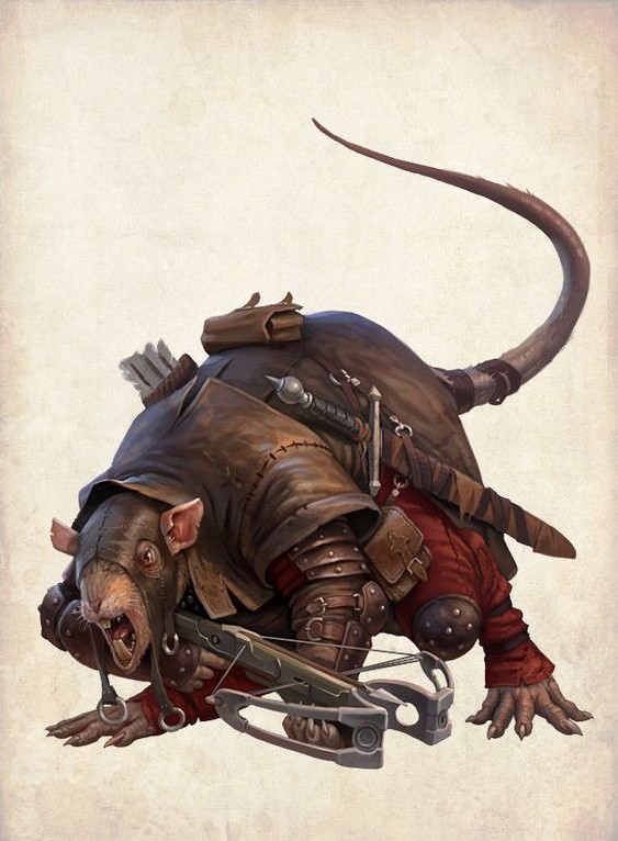 Scary big armoured rodent warrior tattoo design