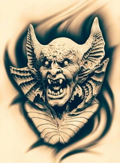 Scary black-and-grey screaming vampire monster portrait tattoo design