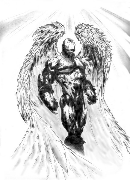 Scary black-and-white angel of death tattoo design