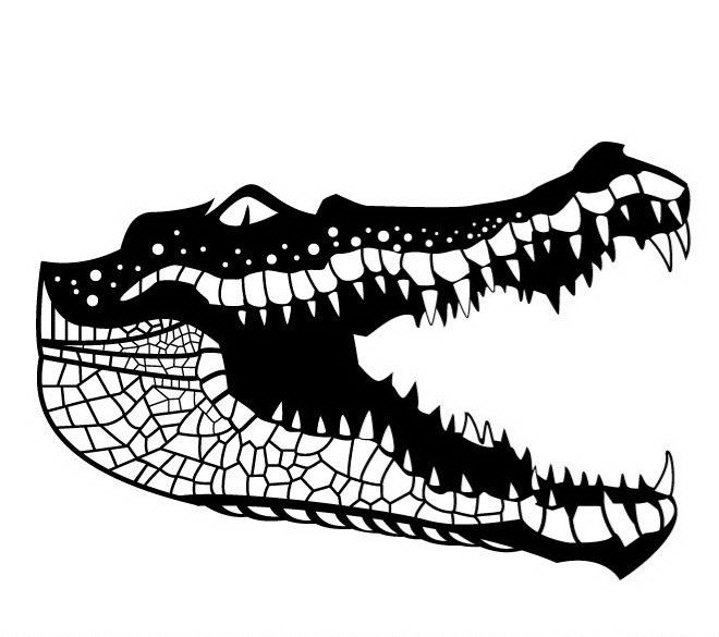 Scary black-and-white reptile jaws tattoo design