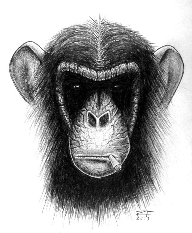 Scary black-ink chimpanzee smoking sigarette tattoo design