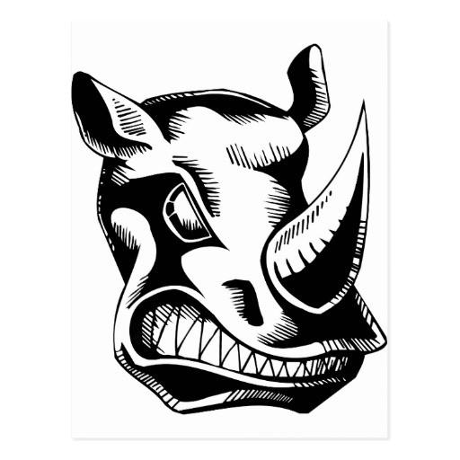 Scary black-ink rhino head with sharp teeth tattoo design