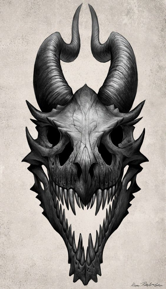 Scary black horned dragon skull tattoo design ...
