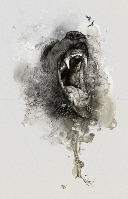 Scary black screaming bear muzzle tattoo design