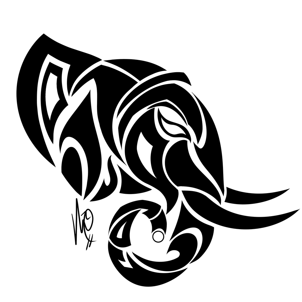 Scary black tribal elephant head in profile tattoo design ...