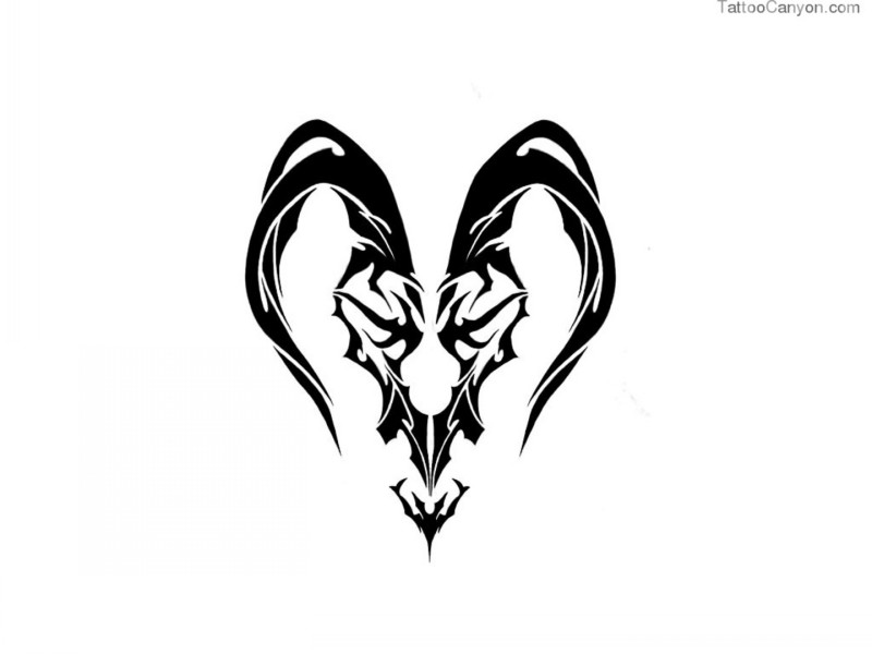 Scary black tribal ram symbol tattoo design